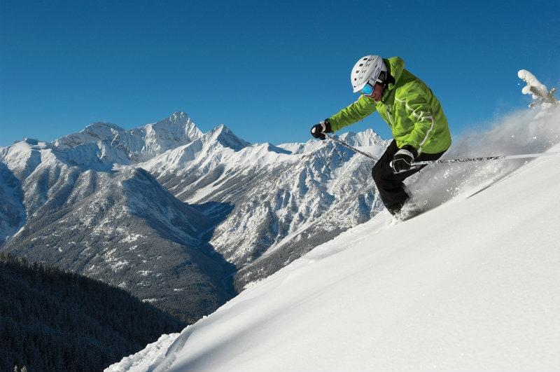 skiing panorama mountain village