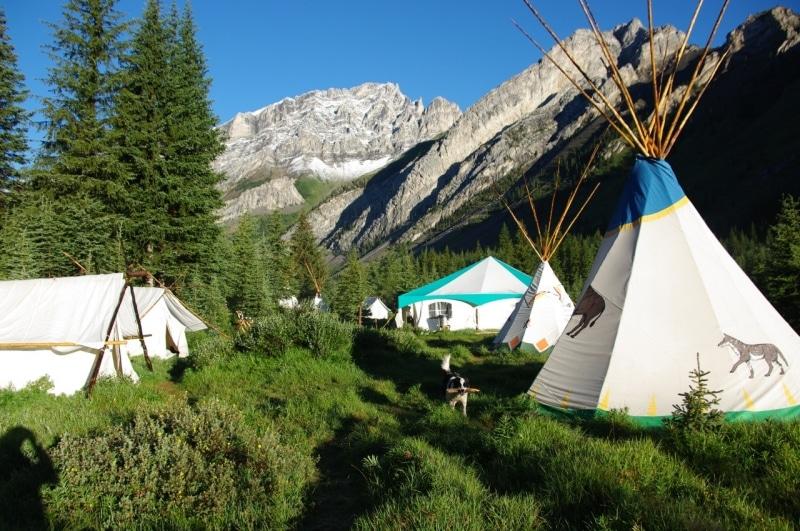 Canadian rockies sleeping in teepee