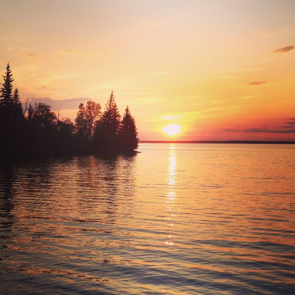 Sunset at clear lake Manitoba