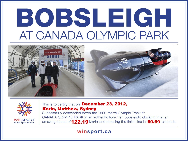 Certificado de nuestra experiencia en el bobsleigh