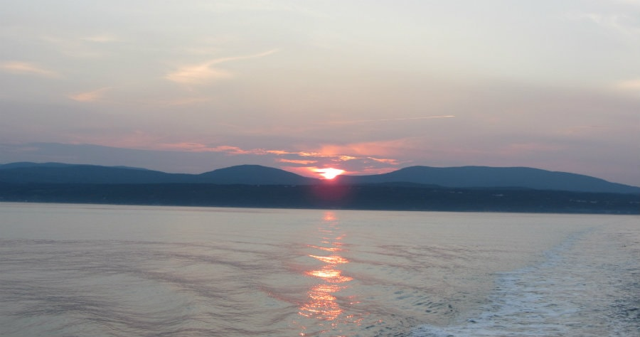 sunset leaving tadoussac quebec