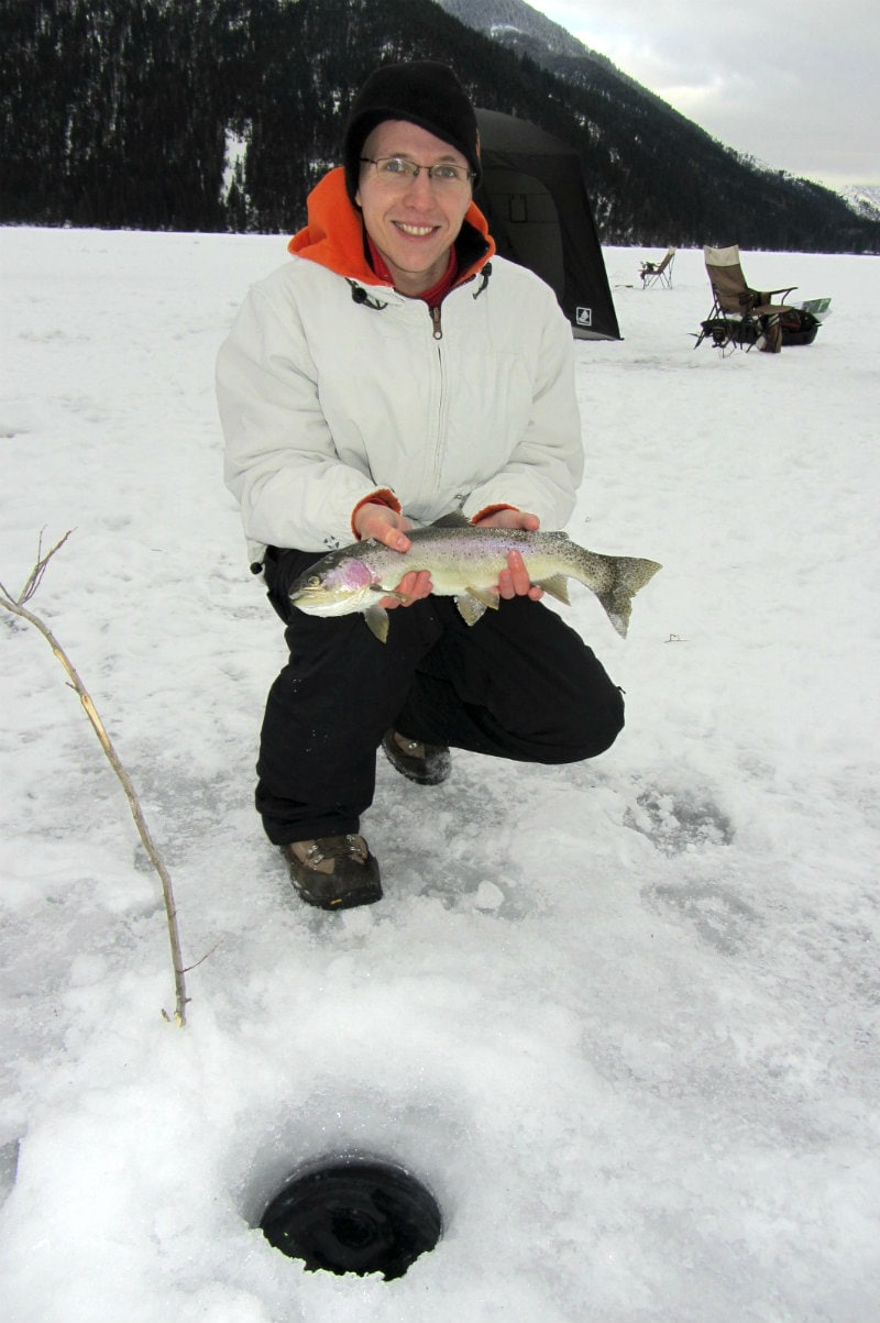 Ice fishing at whiteswan lake british columbia must do for Ice fishing youtube