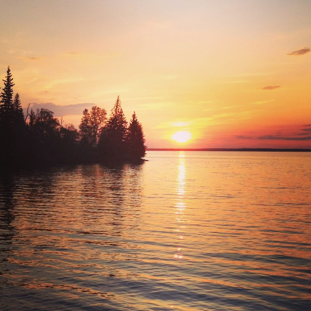 Sunset at clear lake Manitoba