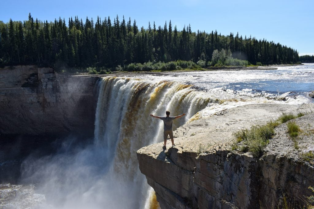 Standing next to Alexandra Falls, Northwest Territories, Canada.