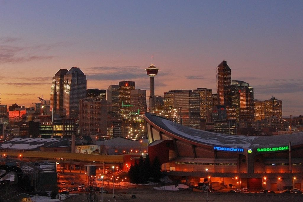 Calgary skyline with the Saddledome at night