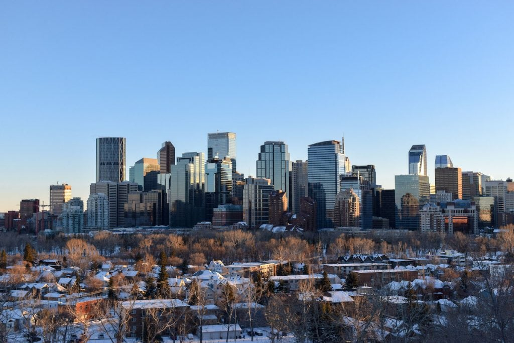 Calgary skyline in the winter