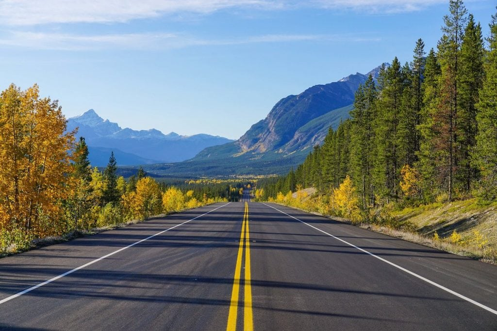 The Icefields Parkway from Banff to Jasper is easily one of the best Alberta road trips you can do.