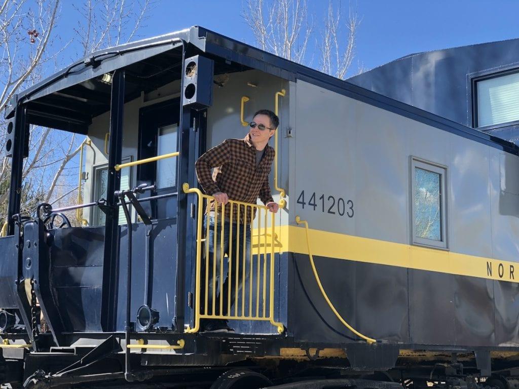 Unique Cabin rentals in Alberta: Train Caboose at Aspen Crossing.
