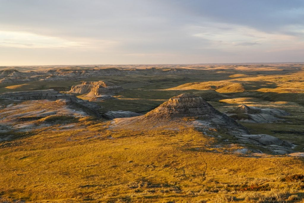 sunset over Grasslands National Park Canada