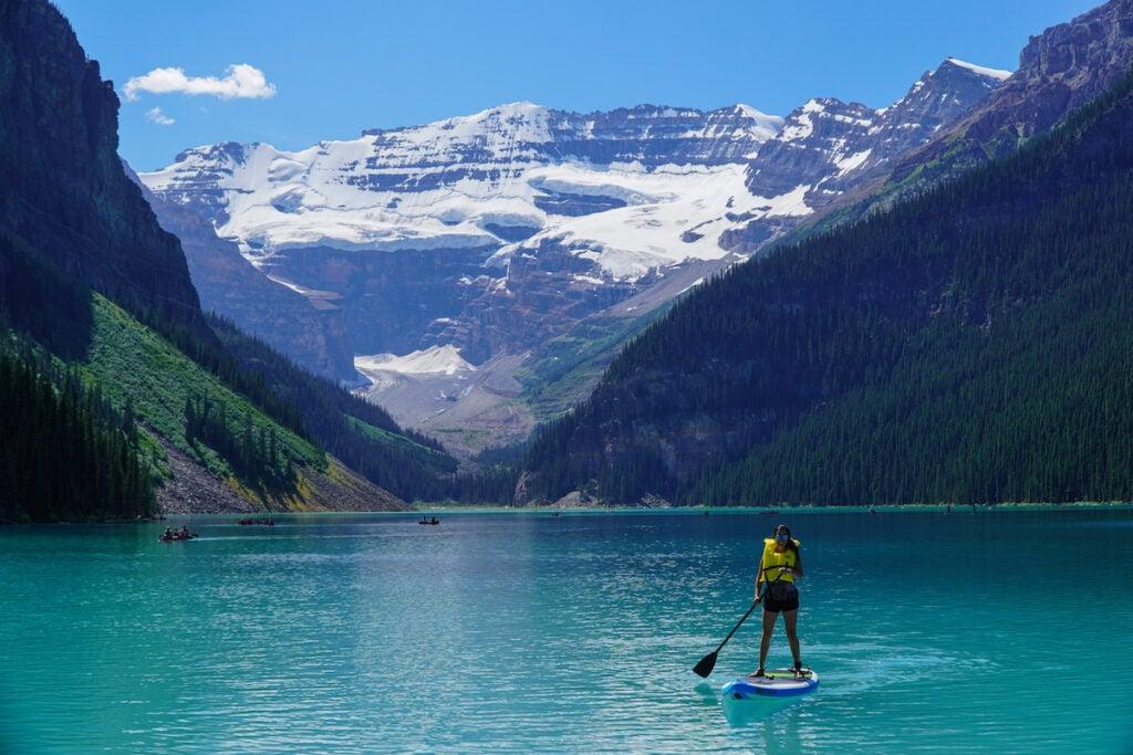 Paddle Boarding on Lake Louise, Banff National Park.