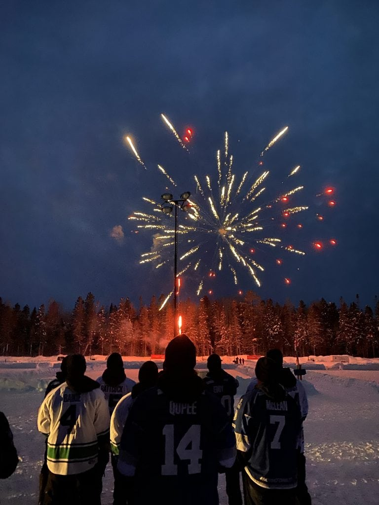 world pond hockey championship fireworks