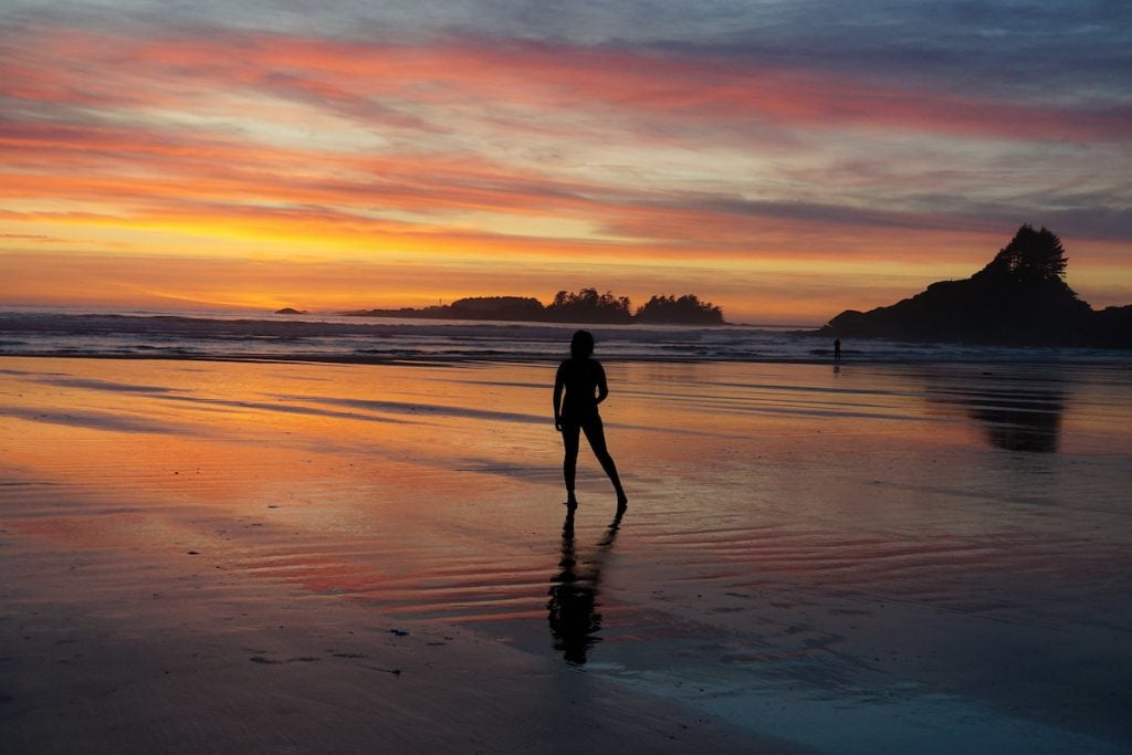 sunset on long beach tofino british columbia