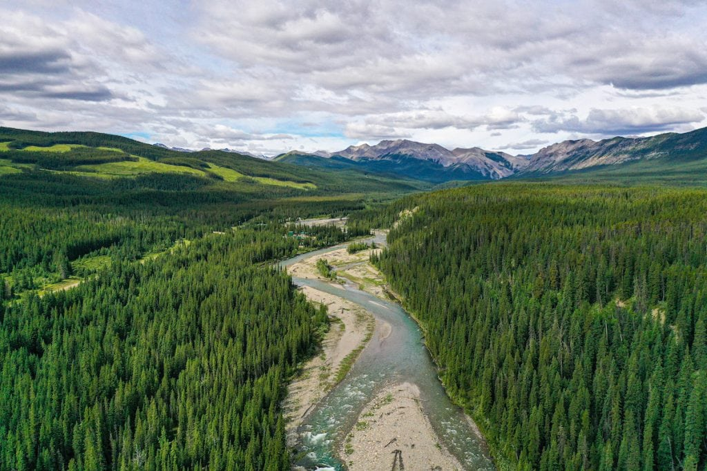 drone photography of panther valley alberta canada