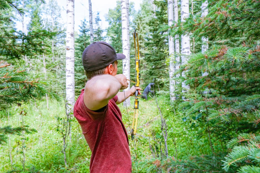 Learning archery at Painted Warriors Indigenous Tourism Alberta
