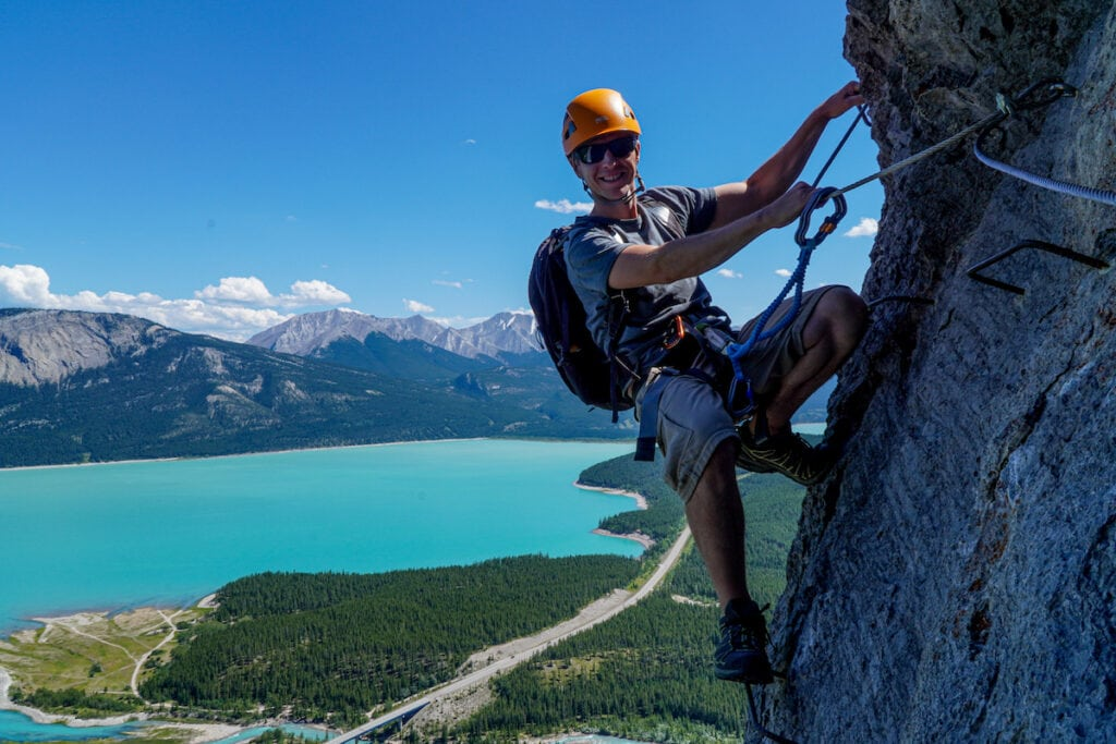 Climbing the Fox Via Ferrata with Indigenous tourism Girth Hitch Guiding