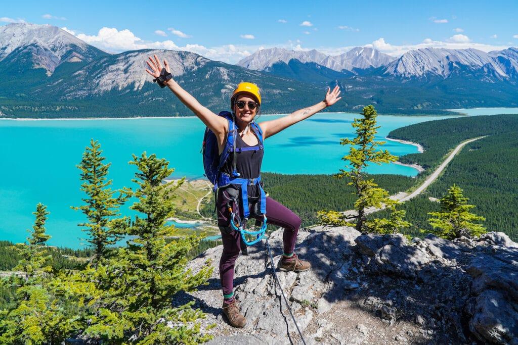 Making it to the summit of THE FOX Via Ferrata at Abraham Lake Alberta