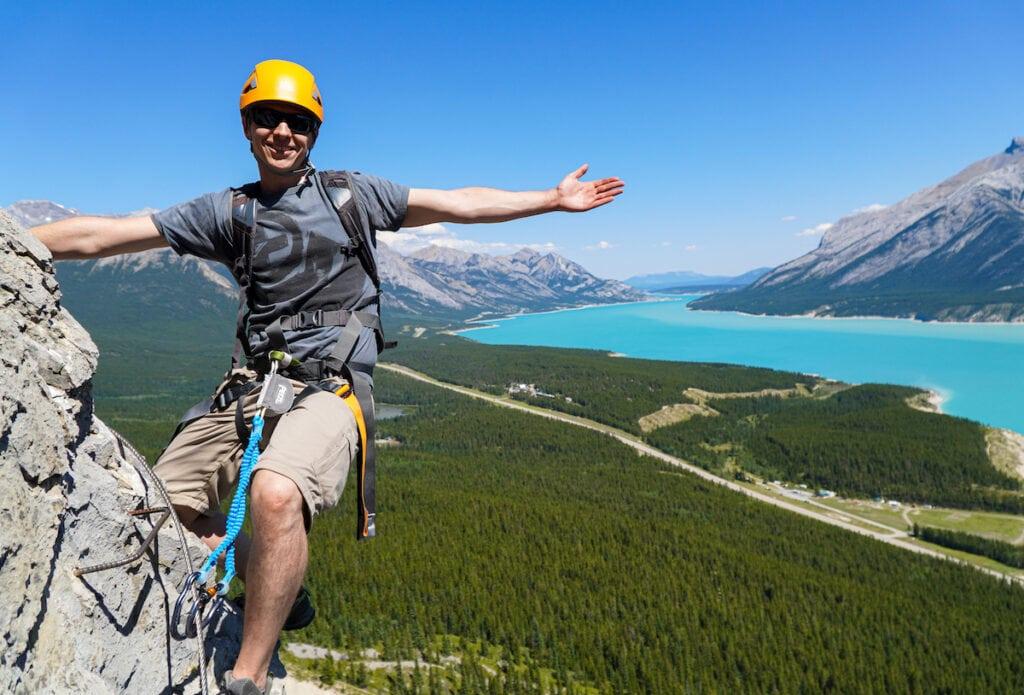 Climbing Via Ferrata in Nordegg Alberta