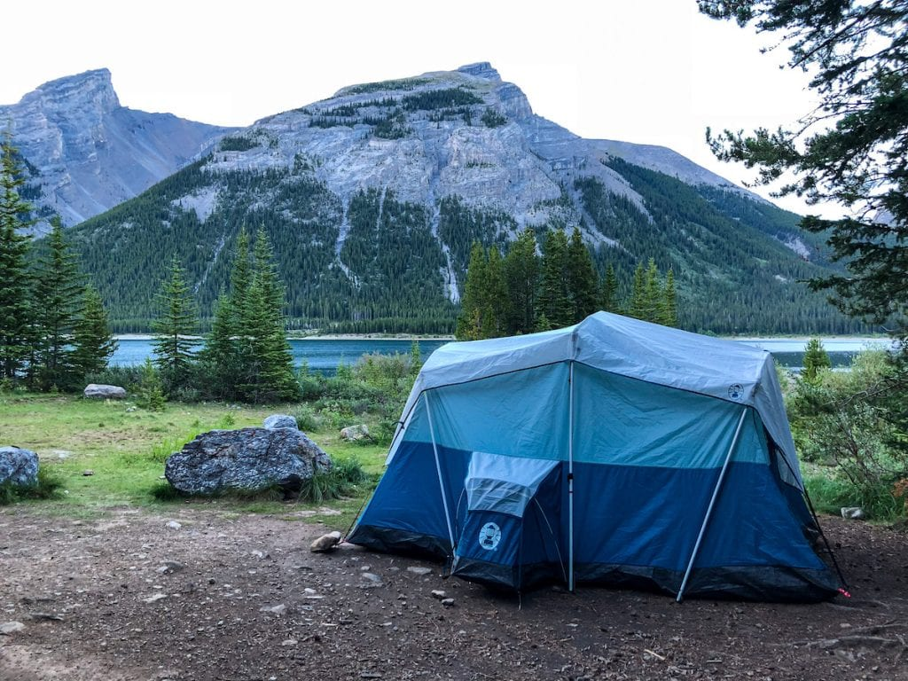 camping in Alberta at Spray Lakes West Campground in the Kananaskis.
