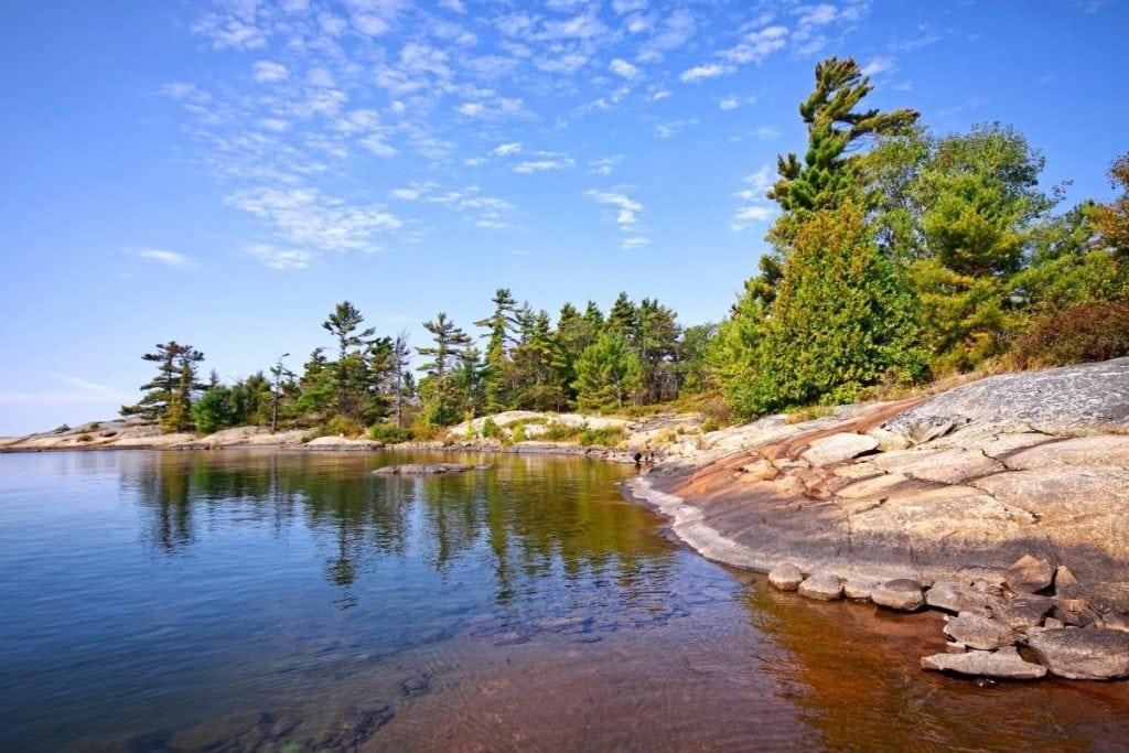 Camping at Georgian Bay Islands National Park, Ontario, Canada.