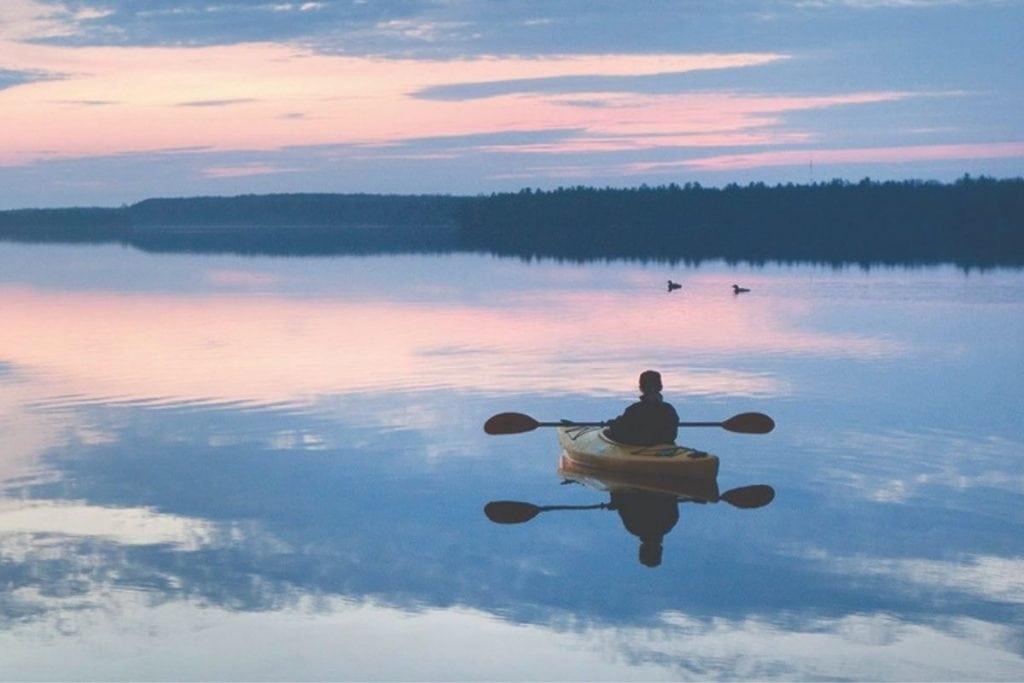 Kayaking on Kawartha Lake.