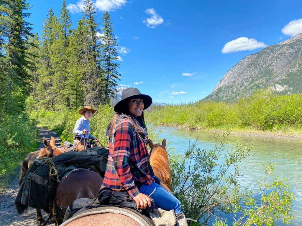 Banff horseback rides along the Bow River.
