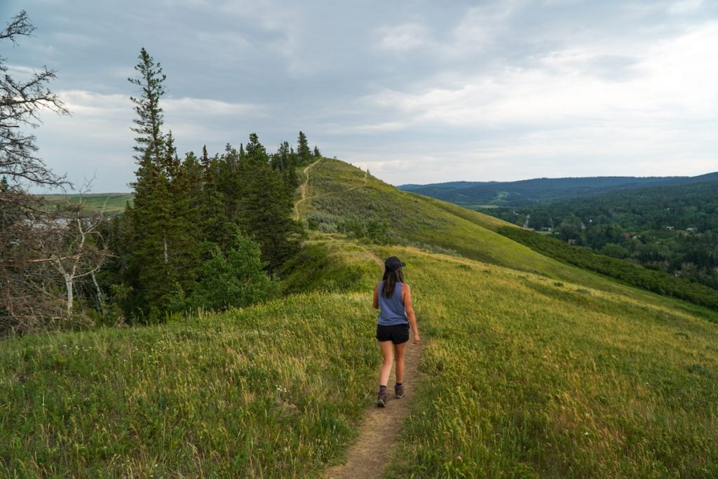 Hiking near Elkwater in Cypress Hills, Alberta.