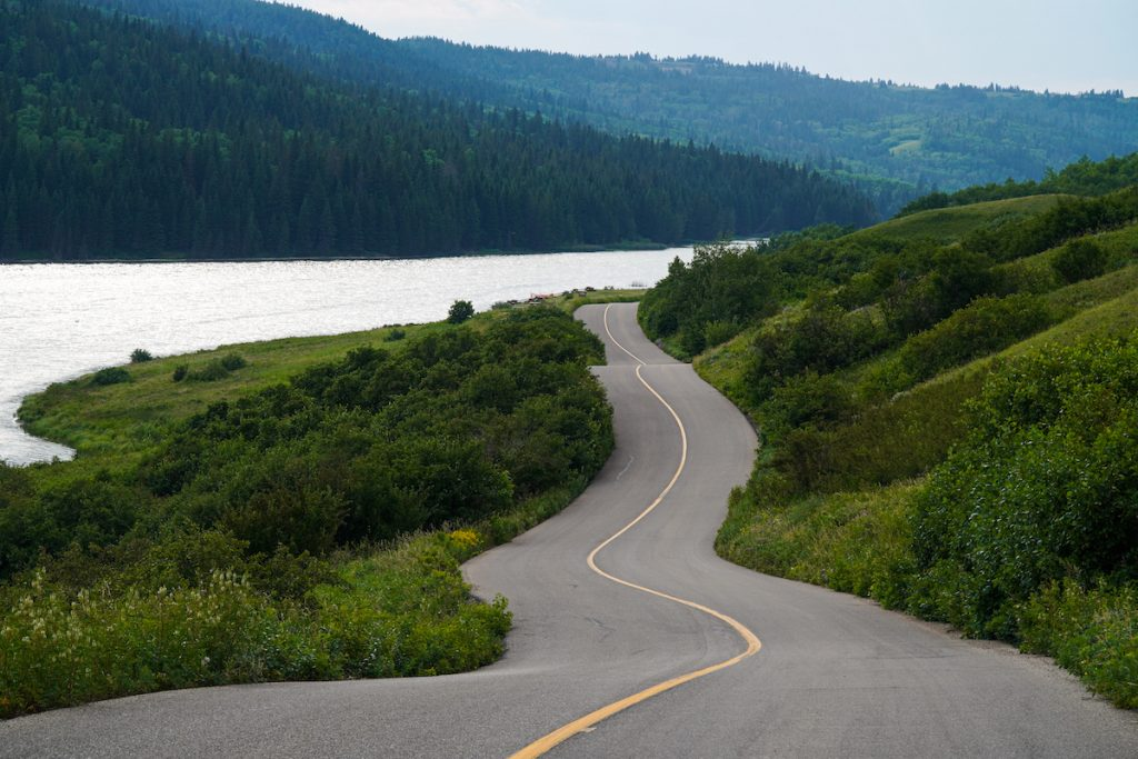 The scenic drive to Reesor Lake, Cypress Hills, Alberta.