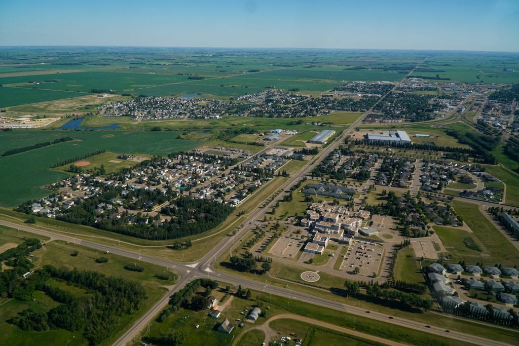 Looking at the city of Wetaskiwin from a Cessna.