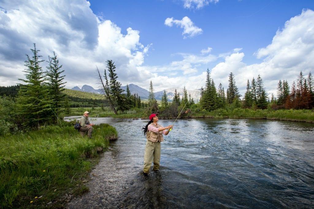 Fishing in Alberta's Crownsest Pass.