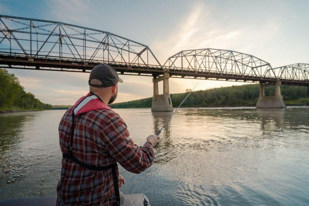 Fishing the Athabasca River, Alberta.