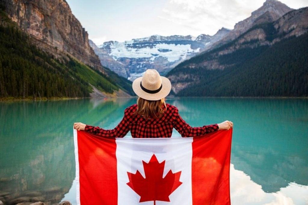 The Canada Flag at Lake Louise, Alberta.