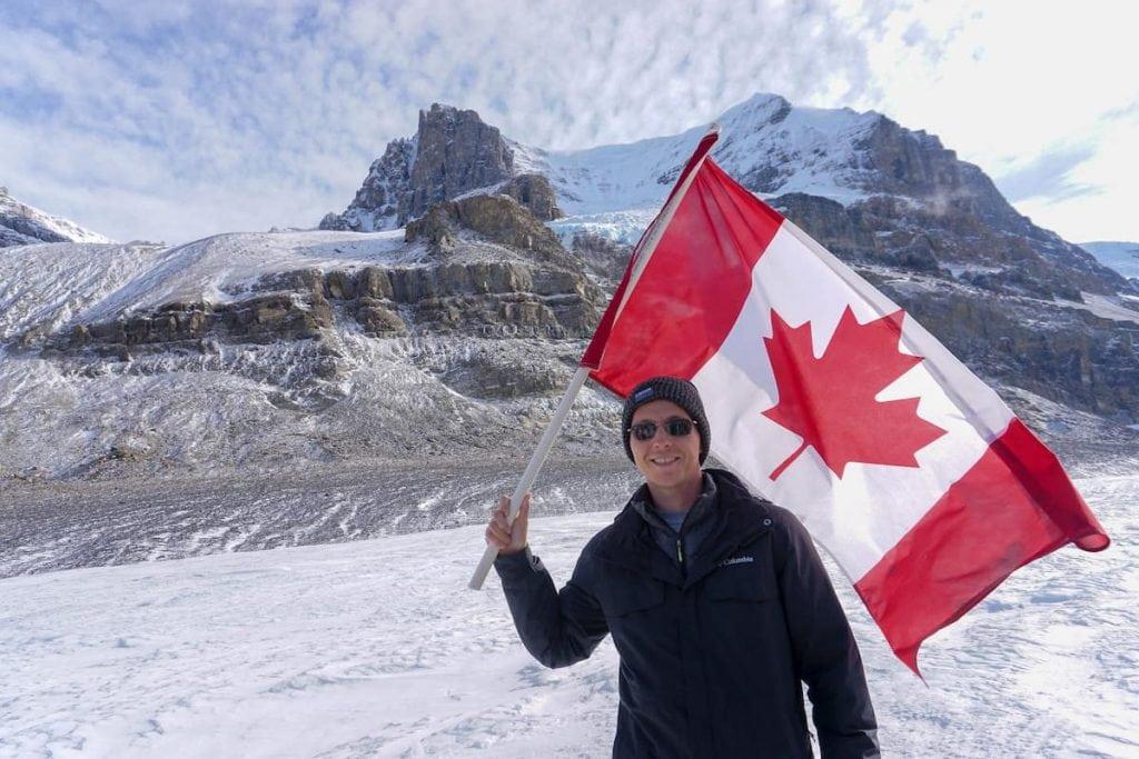 Canada flag in Banff National Park.