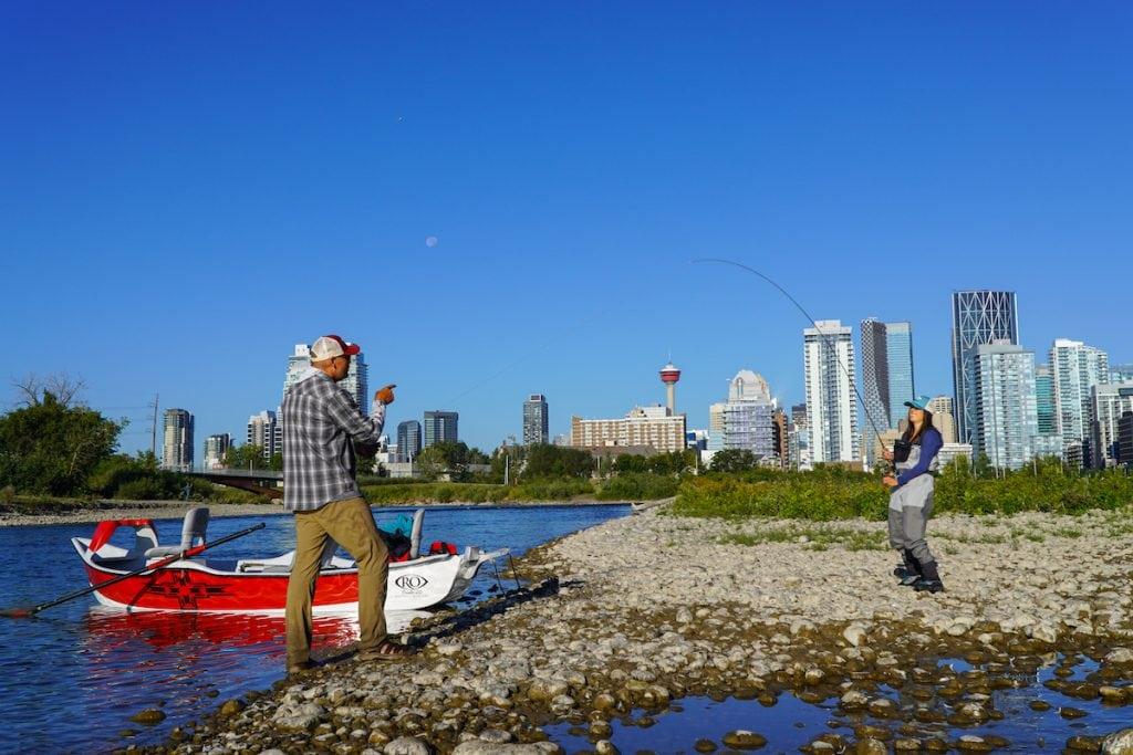 fishing in Alberta on the Bow River in Calgary